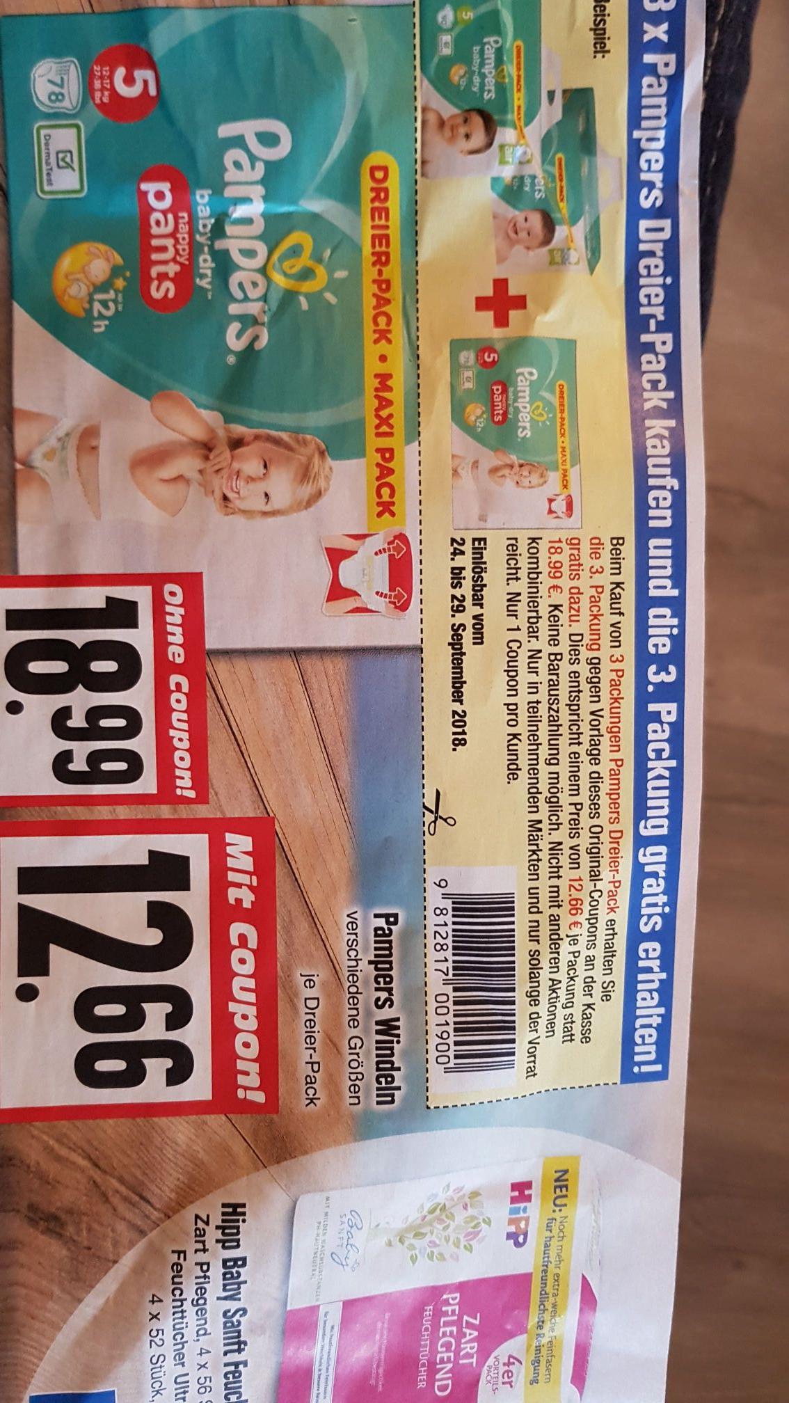 (lokal Edeka) Pampers Dreier Pack 3 für 2 Aktion. (Preis für 3 Pakete)