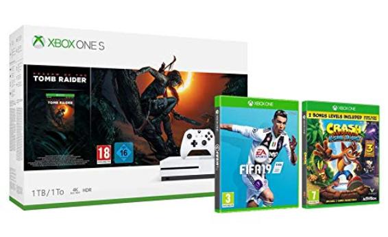 Xbox One S 1TB + Shadow of the Tomb Raider + FIFA 19 + Crash Bandicoot NSane Trilogy für 274€ & Xbox One X 1TB + Forza Horizon 4 + Forza Sport 7 + FIFA 19 für 458€ (Amazon.co.uk)