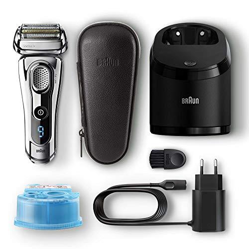 Braun Series 9 Premium Edition Elektrischer Rasierapparat 9296cc, mit Reinigungs- und Ladestation, Leder-Etui, chrom