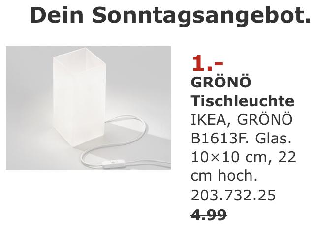 [Lokal Ikea Rostock] am verkaufsoffenen Sonntag, 30.09.18 - Tischlampe Grönö für 1€ statt 4,99€