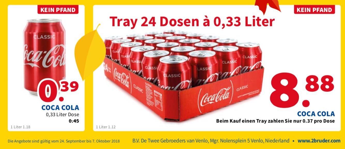 [lokal Venlo / NL / Grenzgänger / Die 2 Brüder von Venlo] Coca-Cola-Dose (0,33 l) für 0,39 Euro oder im 24er-Tray für 8,88 Euro (pfandfrei)