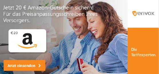 20 Euro Amazon Gutschein von Verivox.de geschenkt Bis 5. Oktober!