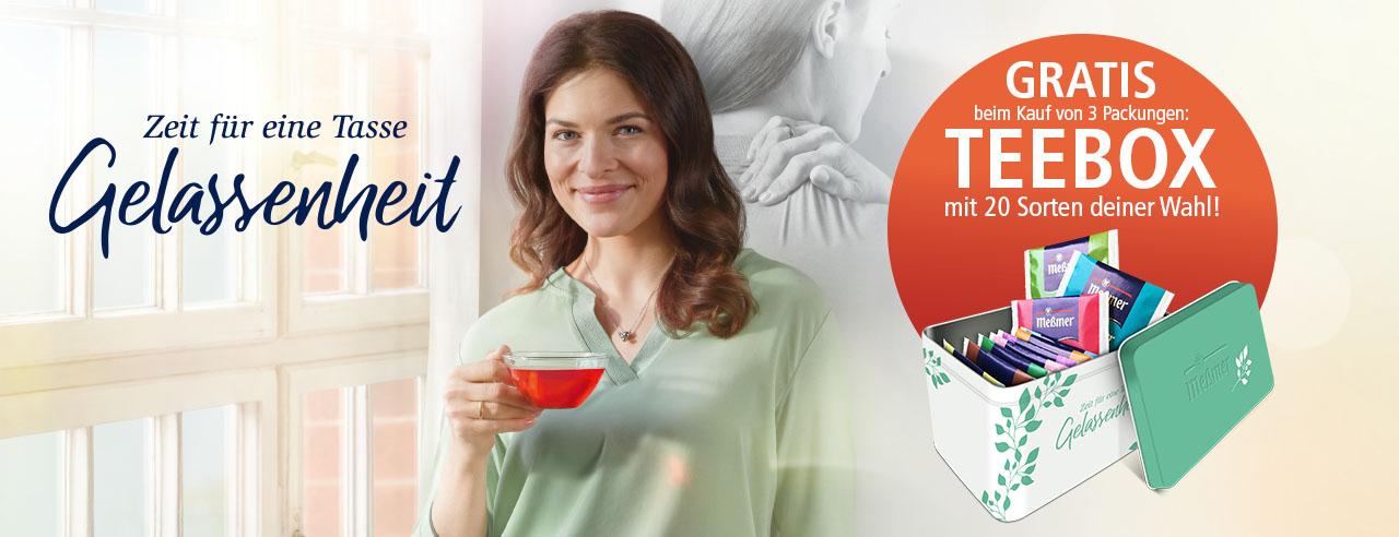 Messmer Teebox gratis beim Kauf von 3 Packungen Messmer Teebeutel