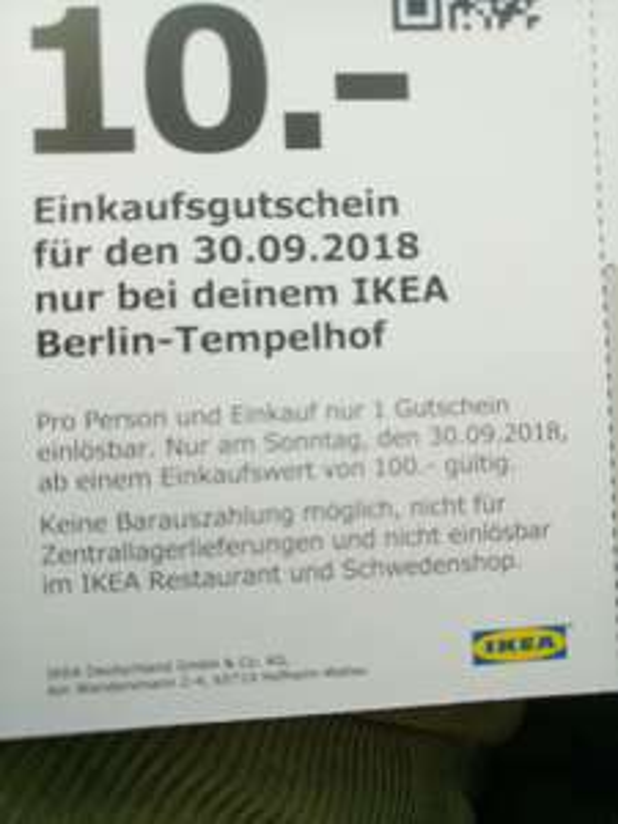 Ikea Berlin Tempelhof Sonntagsöffnung 30.09.2018 10€ // 100mew