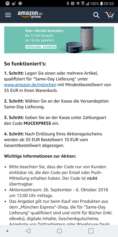 (Amazon München) 10€ Gutschein für Amazon bei Produkten mit Same Day Lieferung MBW 35€