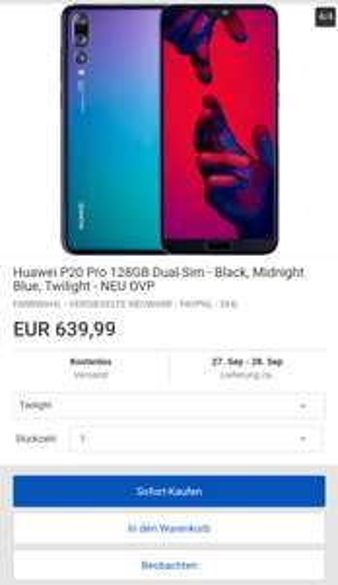 Huawei P20 Pro 128GB Dual SIM für 639,99€ bei eBay in blau oder twilight