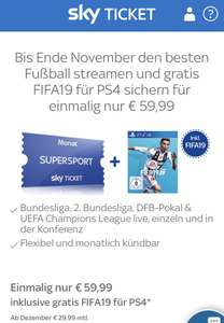2 Monate Sky Ticket + FIFA 19