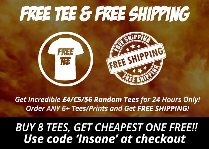 Insanitee Sale bei Qwertee. Random T-Shirts für 5 €. 8tes umsonst