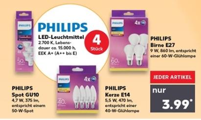 4x Philips LED Leuchtmittel (E14, E27 oder GU10) für je 3,99 € / Osram Motion Sensor E27 für 4,99 € @ Kaufland ab 04.10. (nicht jede Filiale)
