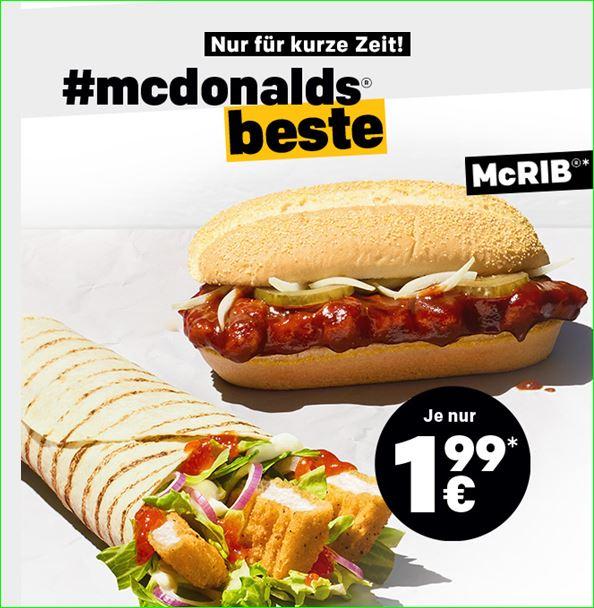 Mc Donalds: McRiB für 1,99€, McSundae Apfel Zimt für 1€