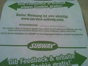 Subway - Cookie für Feedback