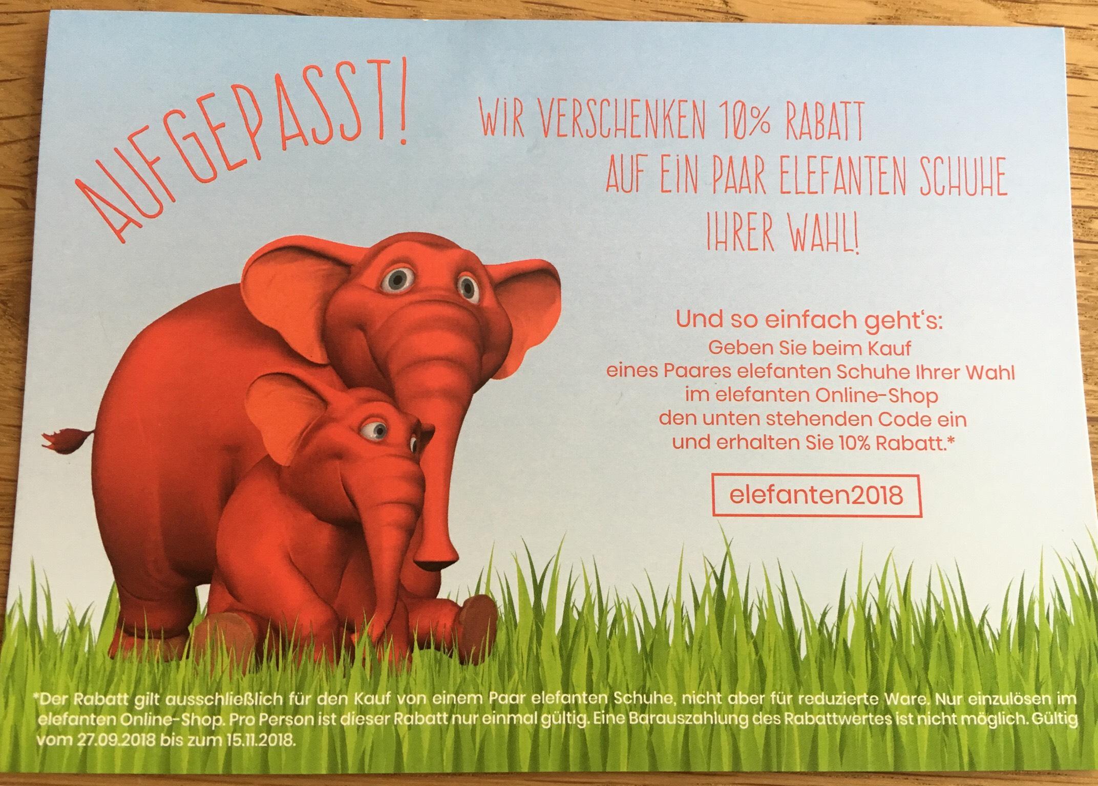 10% Online-Gutschein für Kinder Elefanten Schuhe
