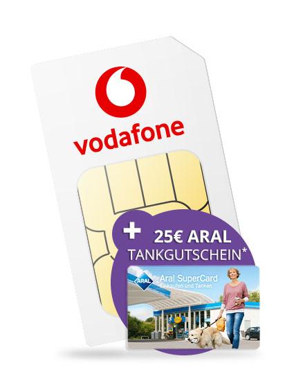 Sim-Only: Vodafone Smart XL Allnet-Flat, SMS-Flat, 11 GB LTE für mtl. 19,99€ durch mtl. Auszahlung oder Einmalauszahlung auf Kundenkonto + 25€ ARAL-Supercard!