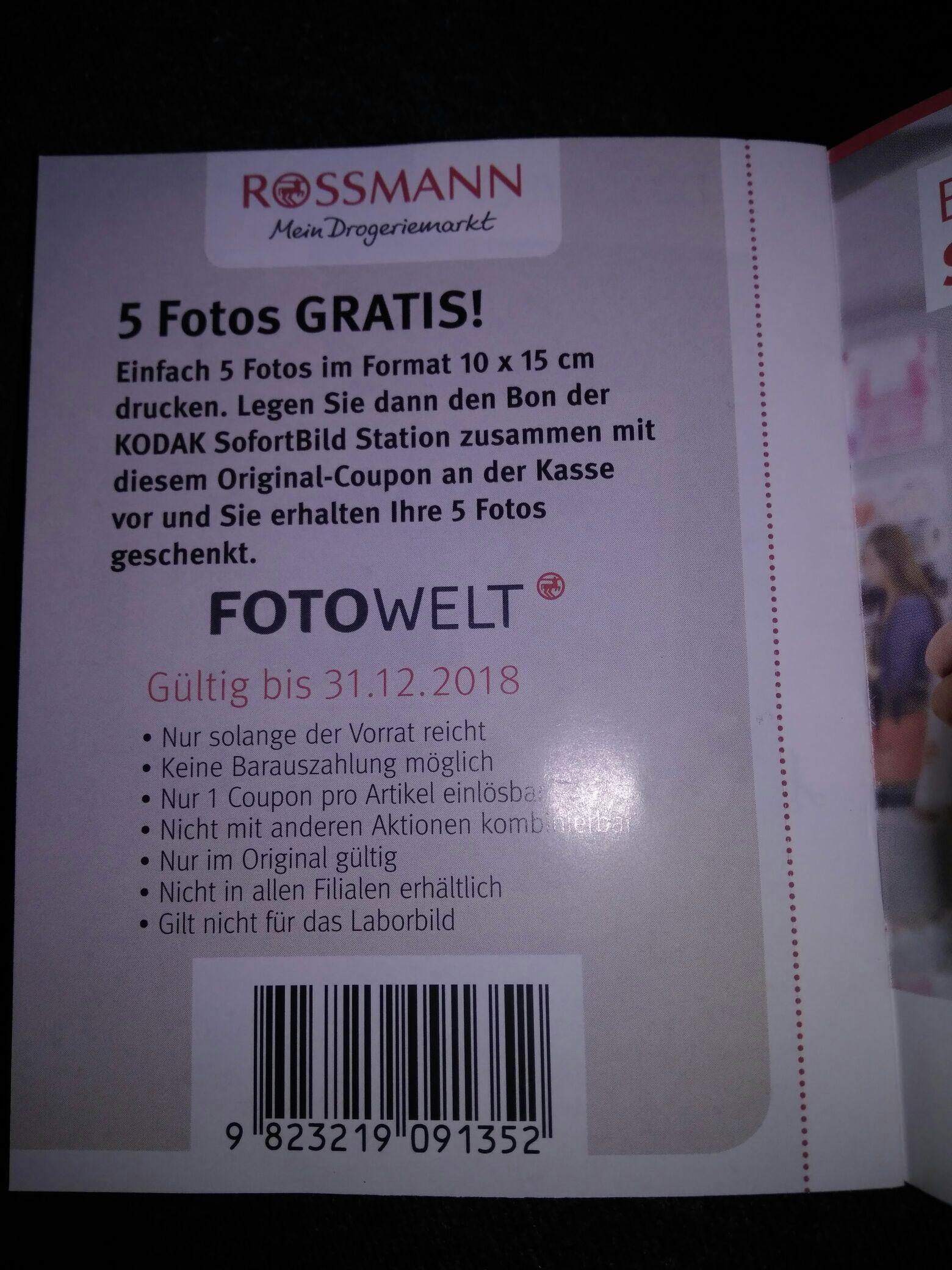EAN für 5 kostenlose Fotoabzüge am Automaten bei Rossmann