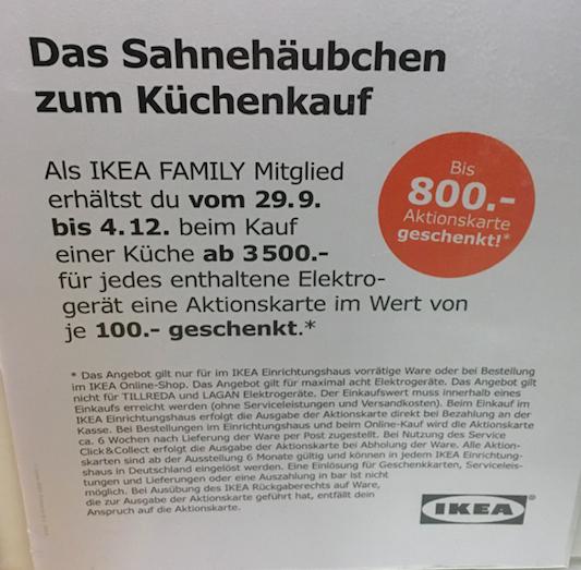 IKEA Family Küchenangebot 100€-Aktionsgutschein für jedes enthaltene Elektrogerät ab 3500€ Küchenpreis