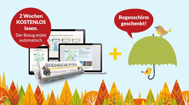 Rheinische Post 2 Wochen gratis selbstkündigend + Regenschirm gratis.