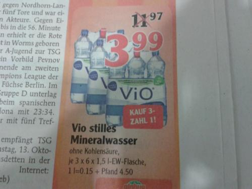 [Lokal?] 3x 6er Pack Vio Mineralwasser still für 3,99 € @ Globus Ludwigshafen-Oggersheim