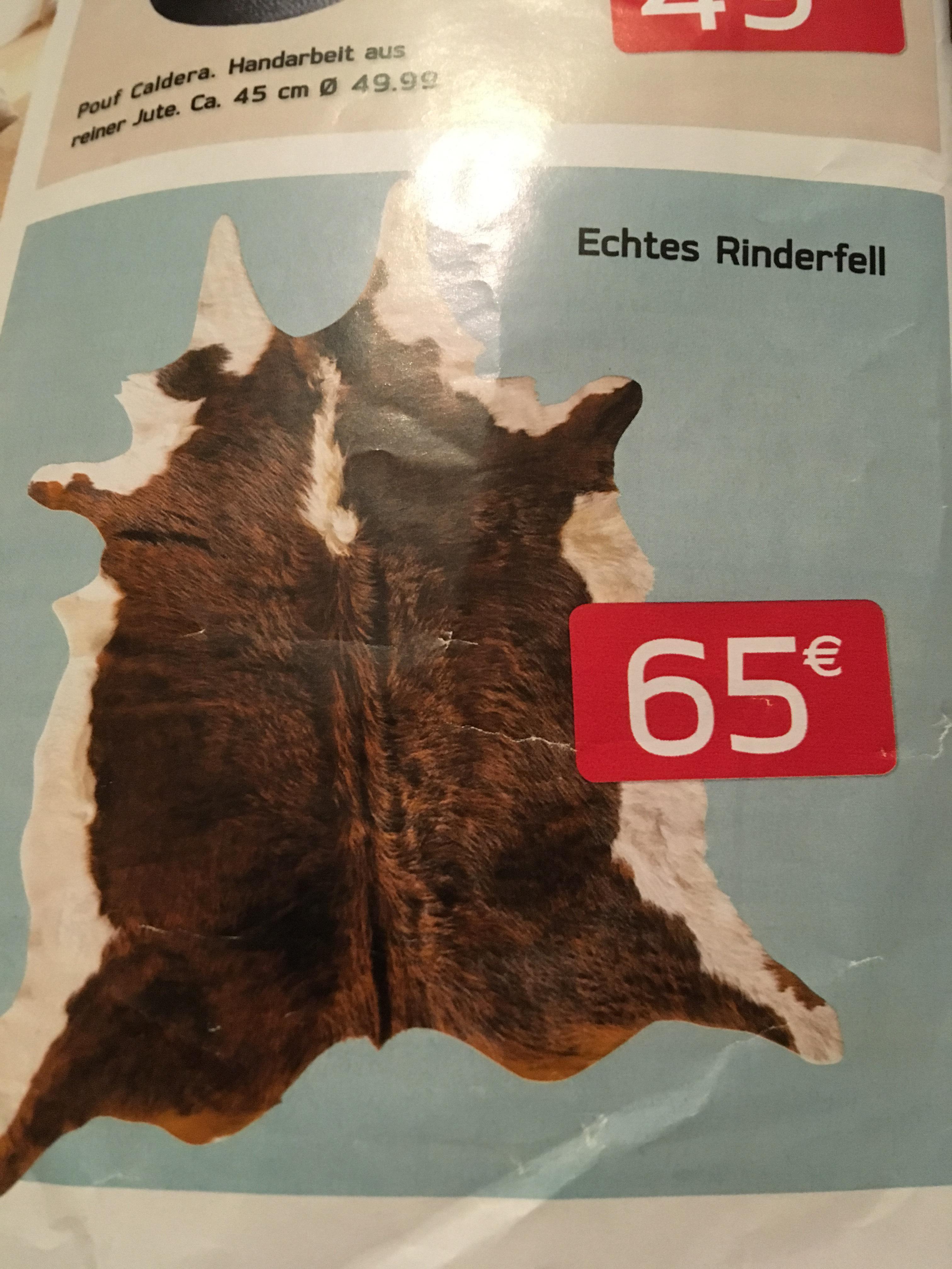 Lokal Kibek (bundesweit) - Echtes Rinderfell / Kuhhaut für 65€