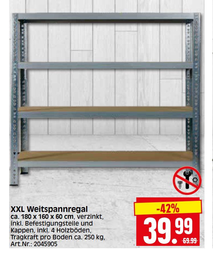 [Hessen/Thüringen] Weitspann - Schwerlastregal 180x160x60 cm, Belastbarkeit 1 Tonne für 39,99€