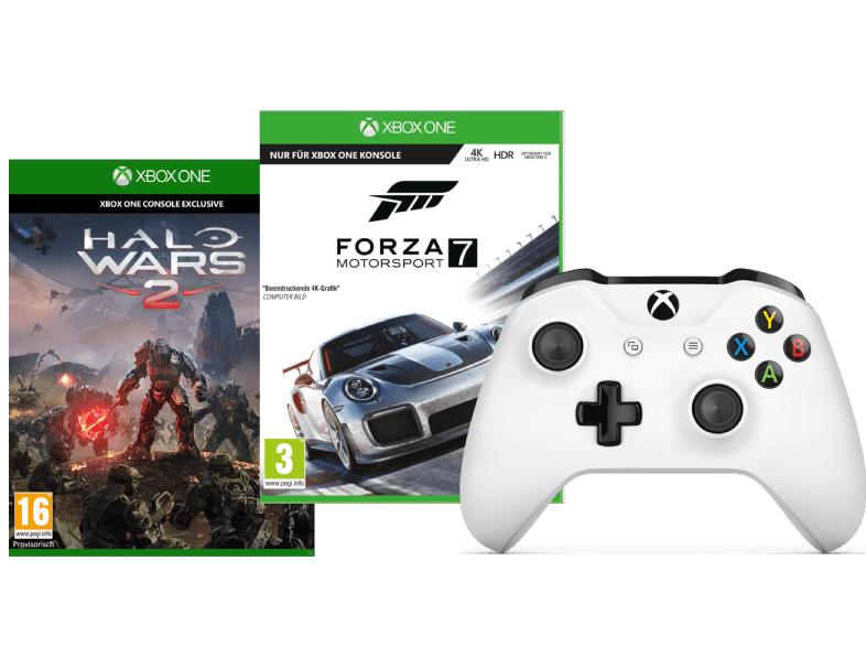 Xbox One S Wireless Controller (Weiß) + Forza Motorsport 7 (Xbox One) + Halo Wars 2 (Xbox One) für 65€ (Media Markt AT)