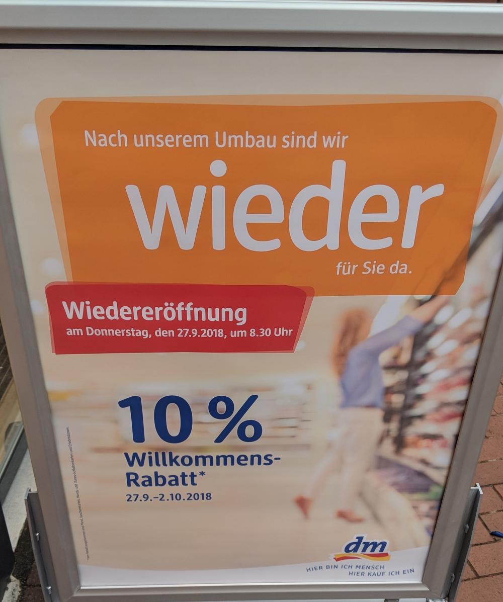 dm Bonn - Duisdorf: 10% auf alles wegen Wiedereröffnung