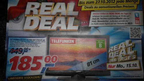 """Telefunken 32"""" Full-HD LED-TV für 185€! Nur am Montag bei real,-!"""