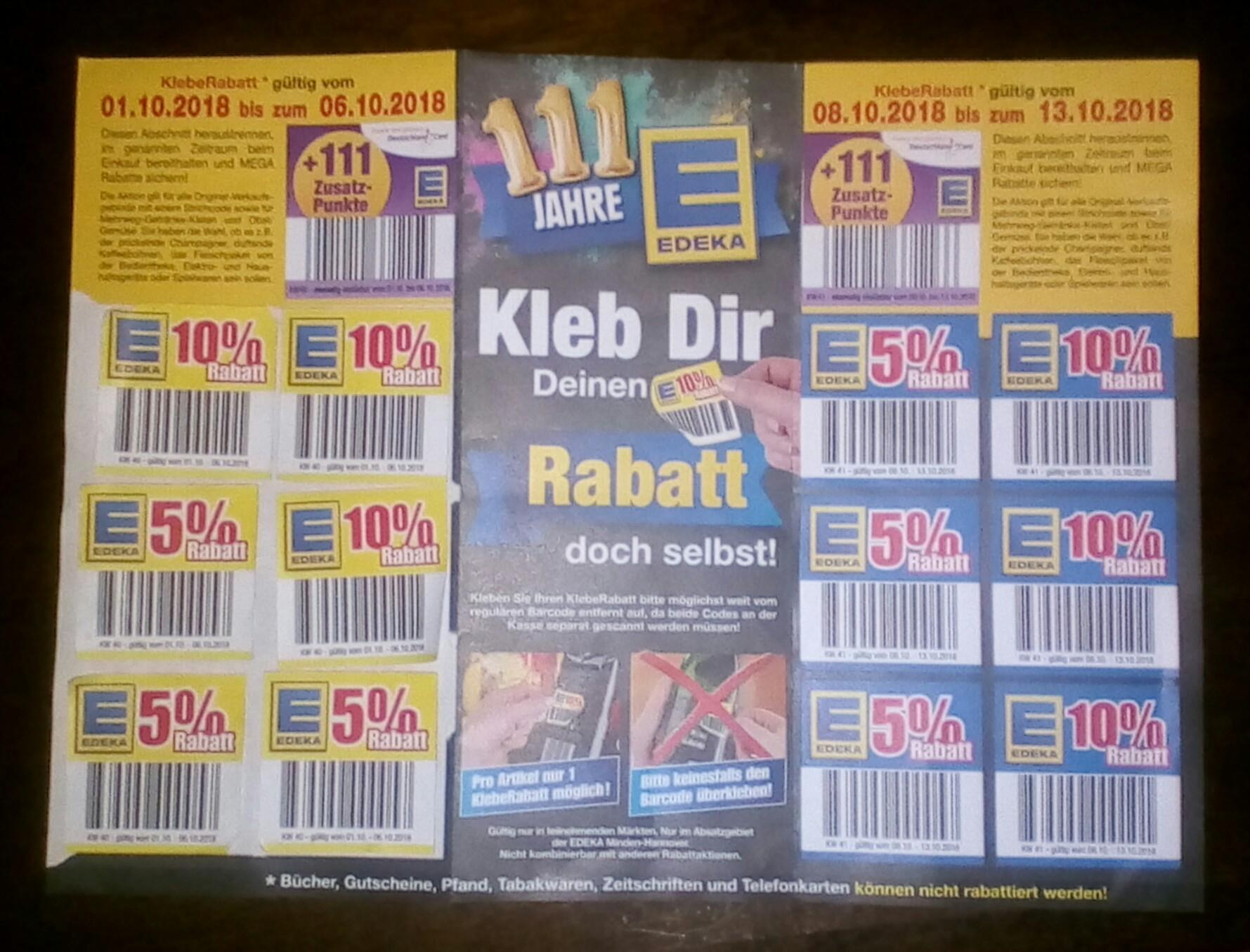 Edeka Minden-Hannover Rabattkleber & 2×111 Deutschlandcard Punkte gratis