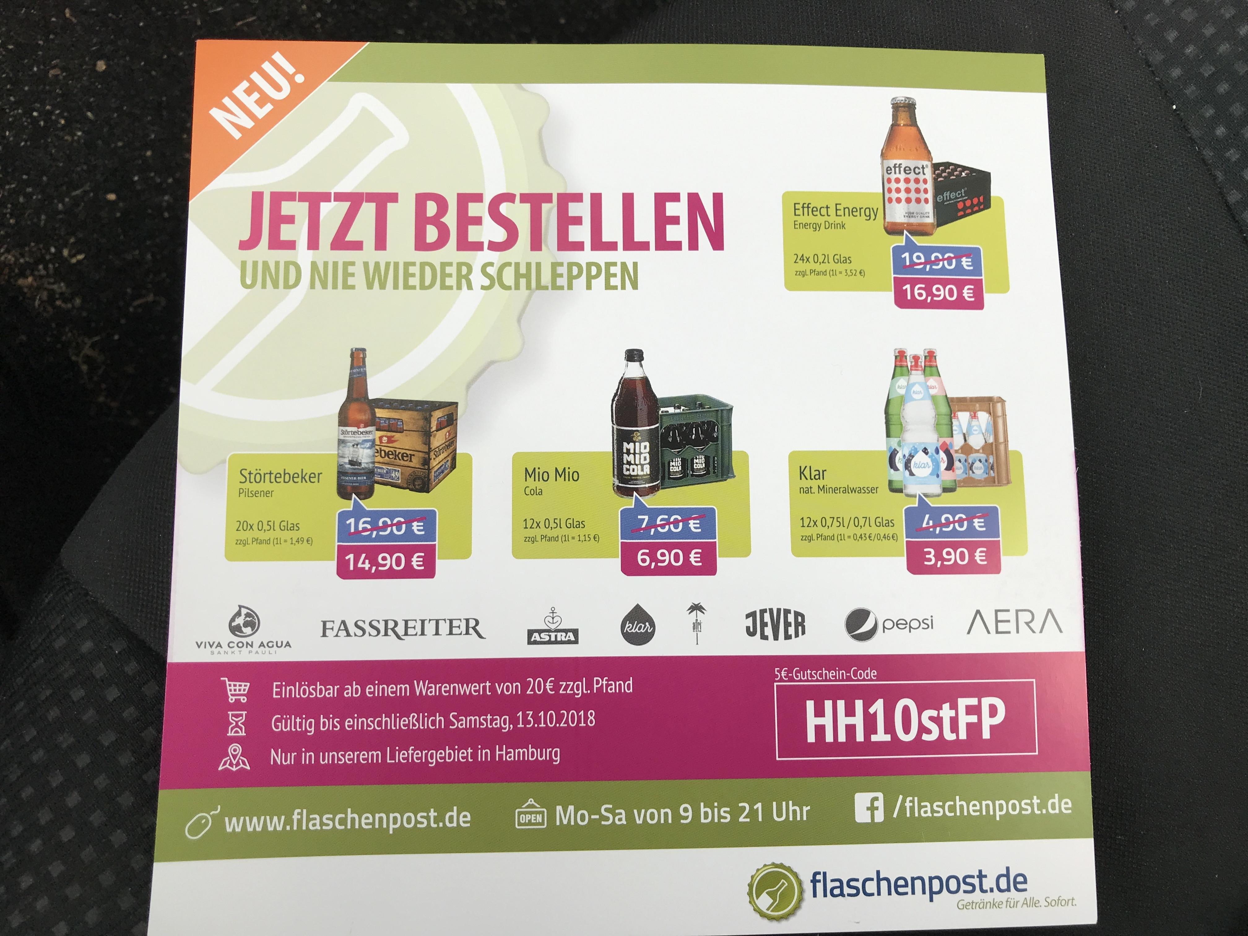 5 Euro Gutschein bei Flaschenpost.de (MBW 20 Euro) - Bundesweit - laut Community Rückmeldungen