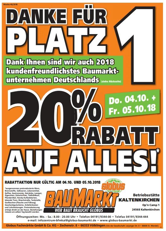 """Globus Baumarkt 20% auf """"alles"""" am 04. & 05.10. (lokal Kaltenkirchen)"""