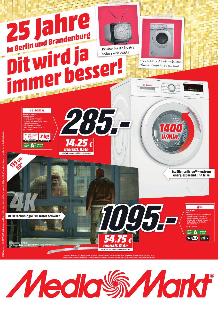 [MediaMarkt Berlin & Brandenburg] Bosch WAN 282 Eco2 Waschmaschine für 285€