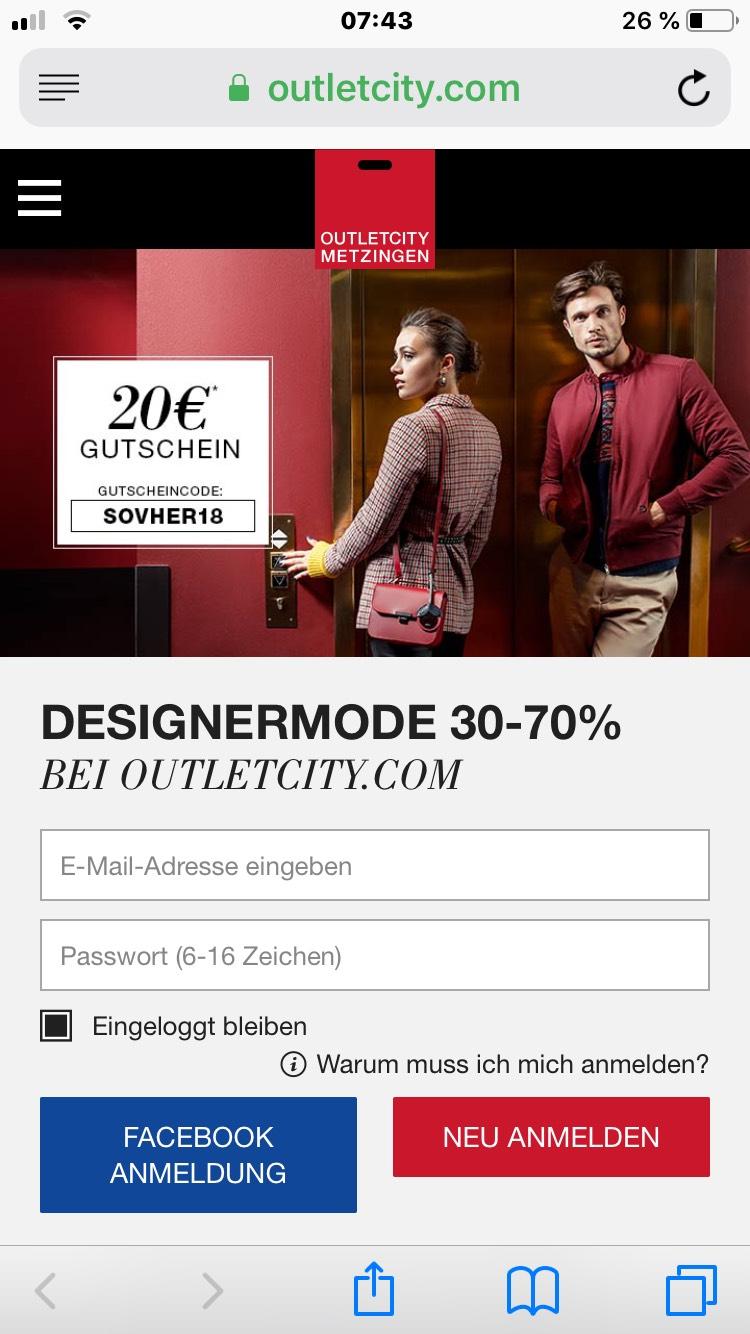 -30% auf Herbstmode 20€ Rabatt  outletcity.com MBW 100€