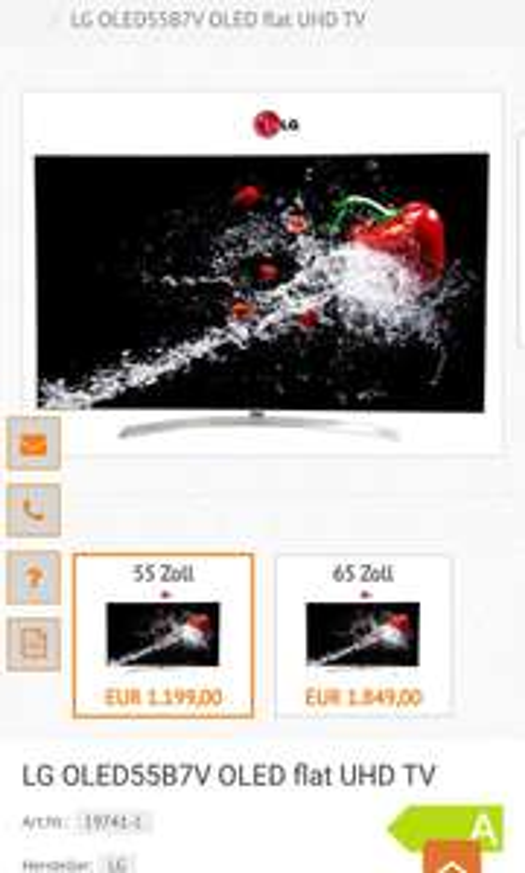 LG OLED55B7V oled 55zoll TV