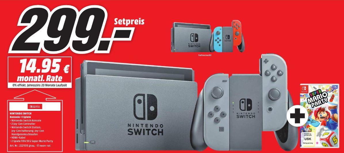 [Lokal MTZ bei Frankfurt] Nintendo Switch inkl. Mario Party oder Fifa 19 (beides Retail) für 299,-€