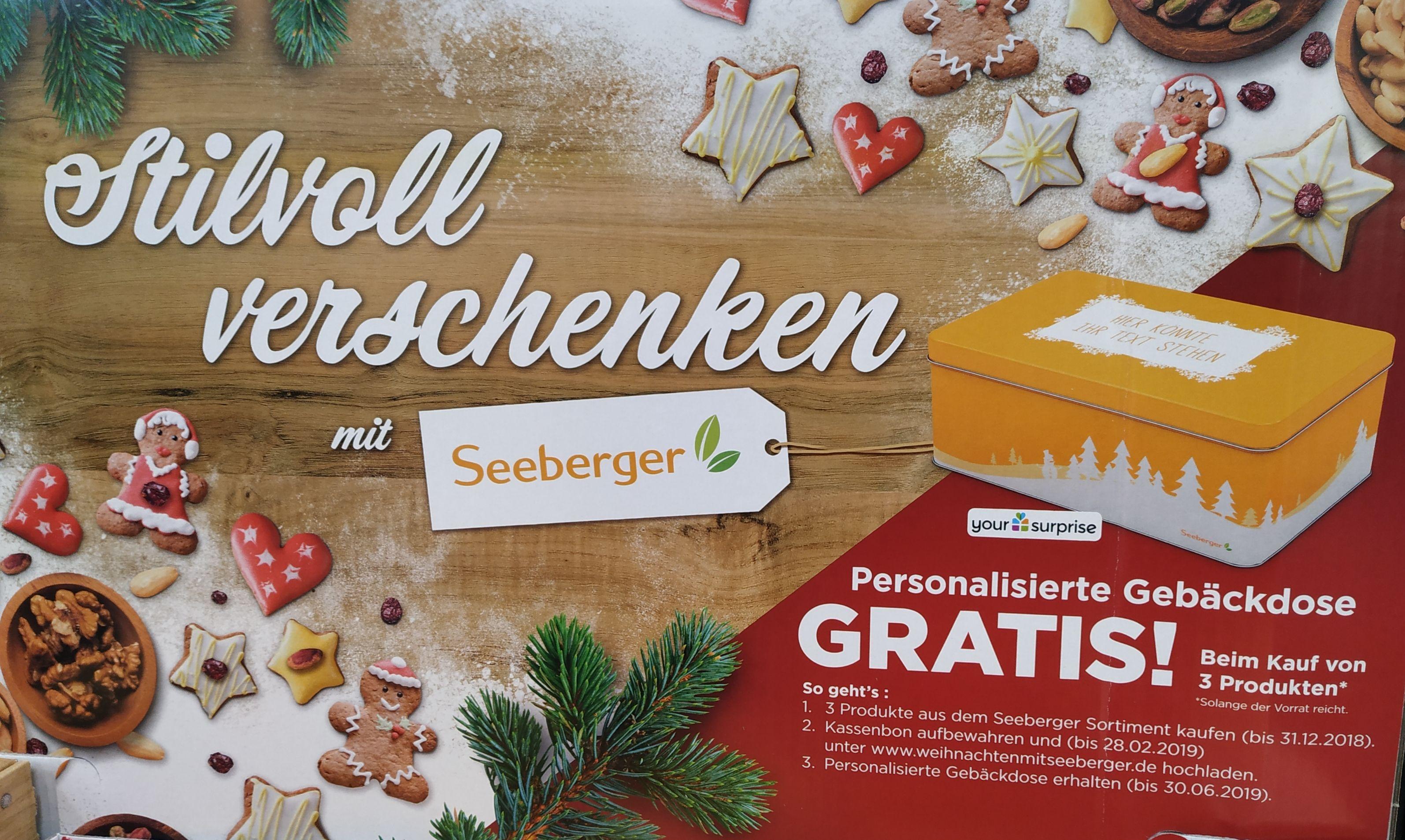 Personalisierte Gebäckdose gratis beim Kauf von 3 Seeberger-Produkten