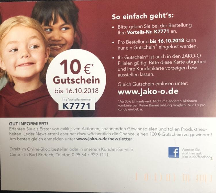JAKO-O 10€ Rabatt mit MbW 30€
