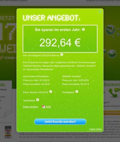 Eprimo Gas und Strom - 220/170 EUR Weihnachtsgeld