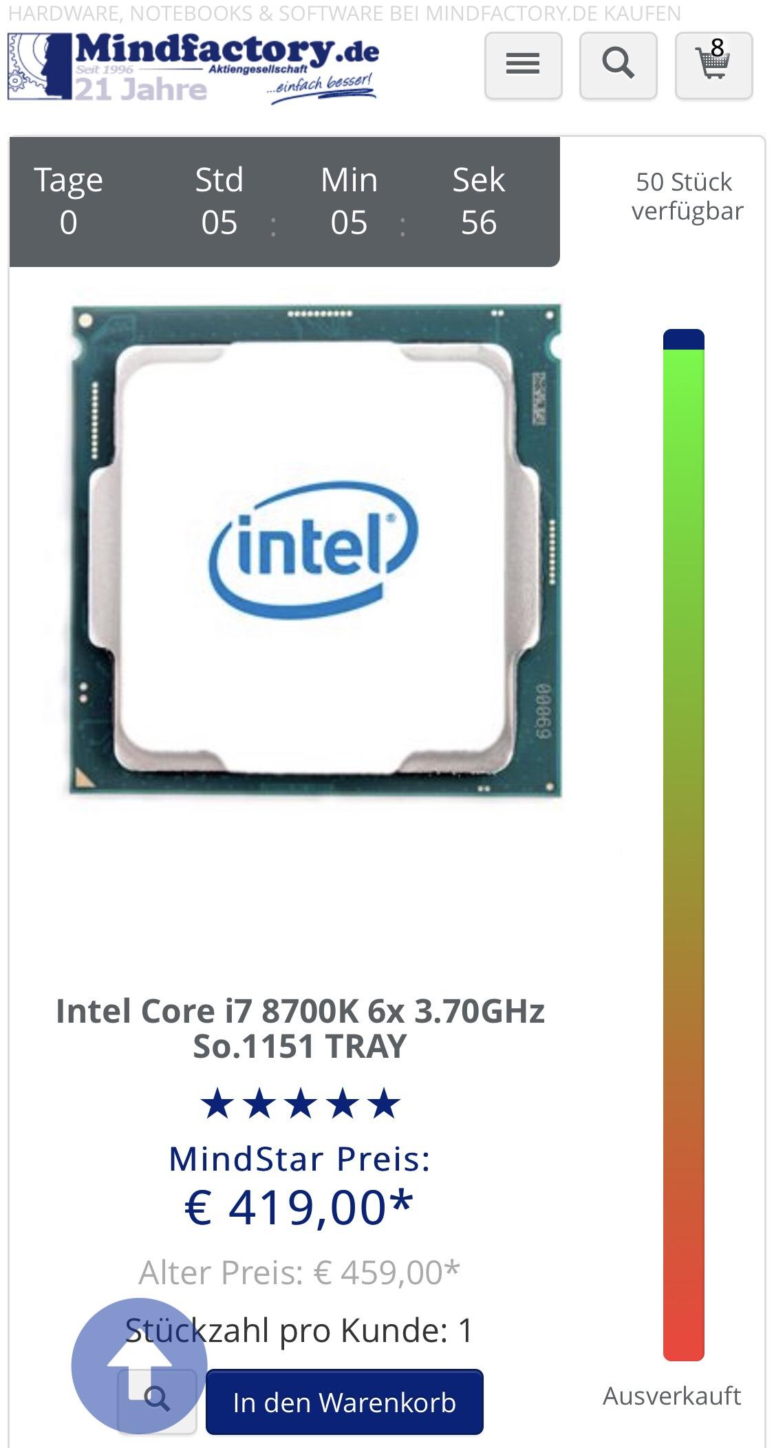 [Mindstar] I7 8700k Tray