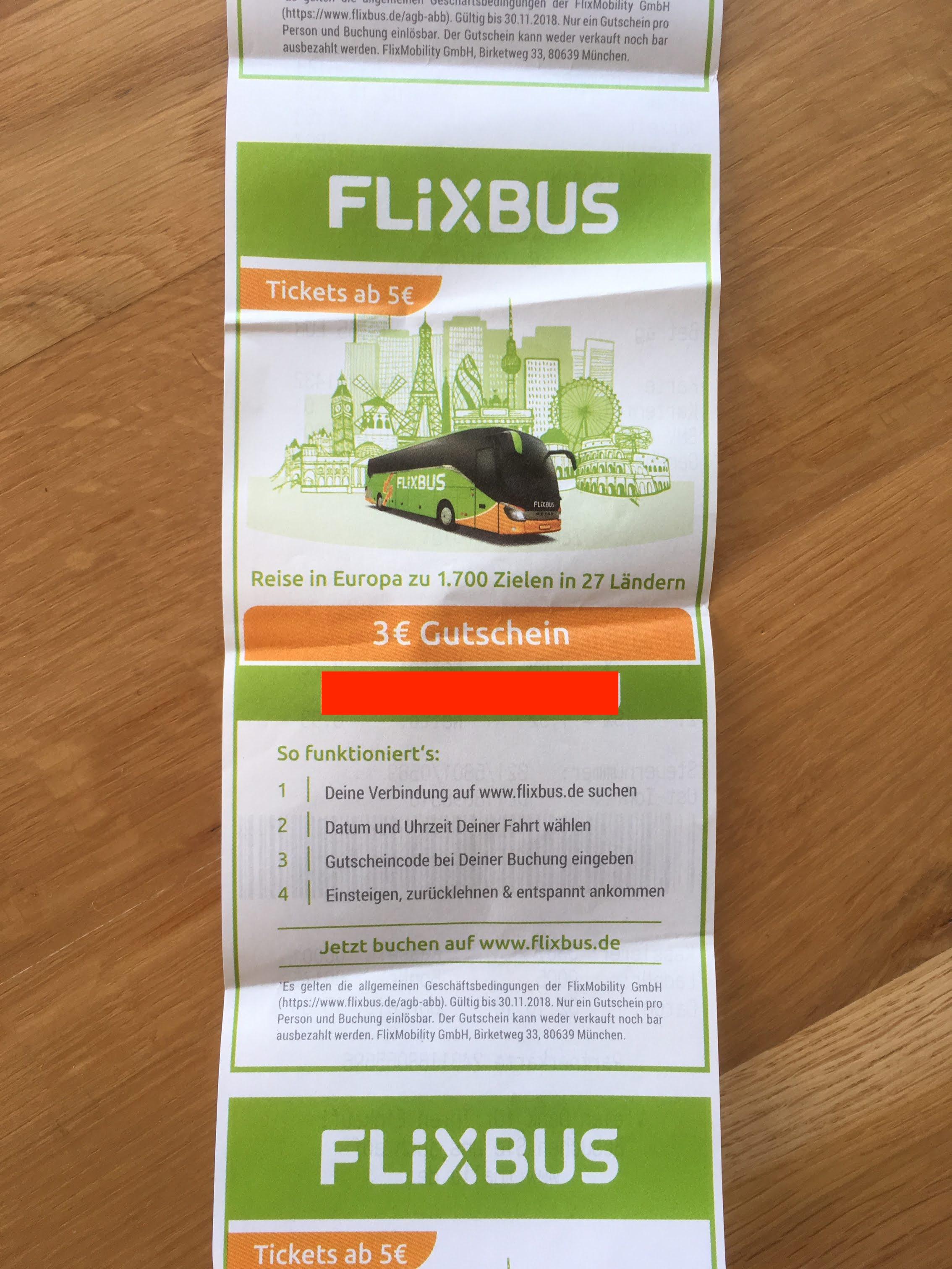 [LOKAL] 3€ Flixbus-Gutschein auf Beleg von Thalia