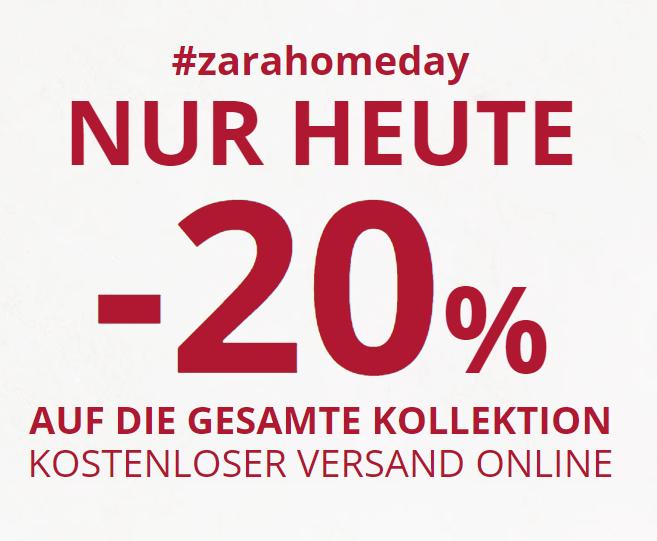 -20% auf nicht reduzierte Ware bei Zara Home + kostenloser Versand