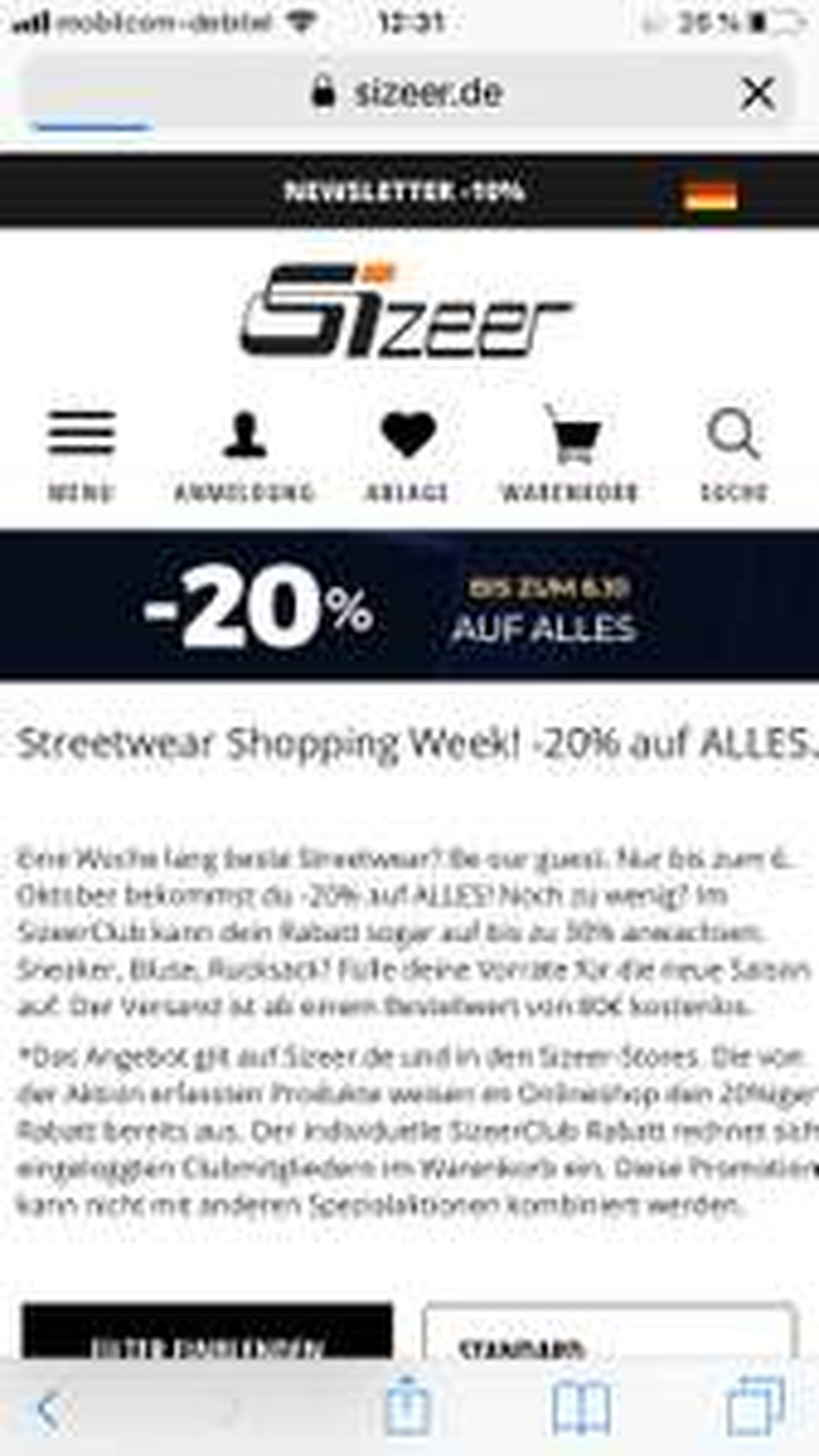 20% auf ALLES!! Nur bis heute Nike Adidas converse usw. Schuhe caps