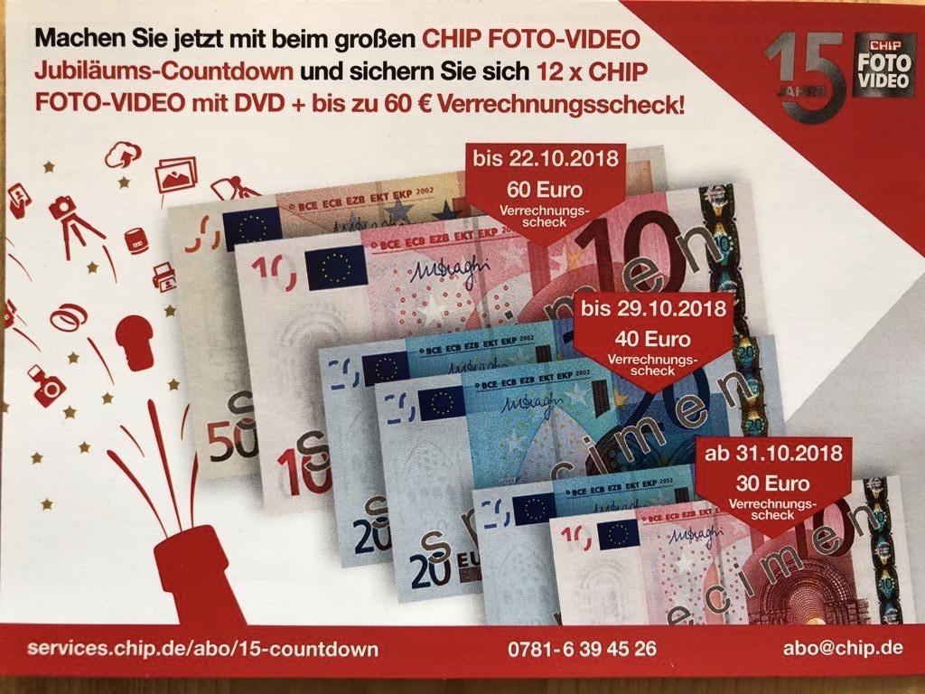 12 Ausgaben CHIP FOTO-VIDEO mit DVD (als Abo Mit 60€ Verrechnungsscheck)