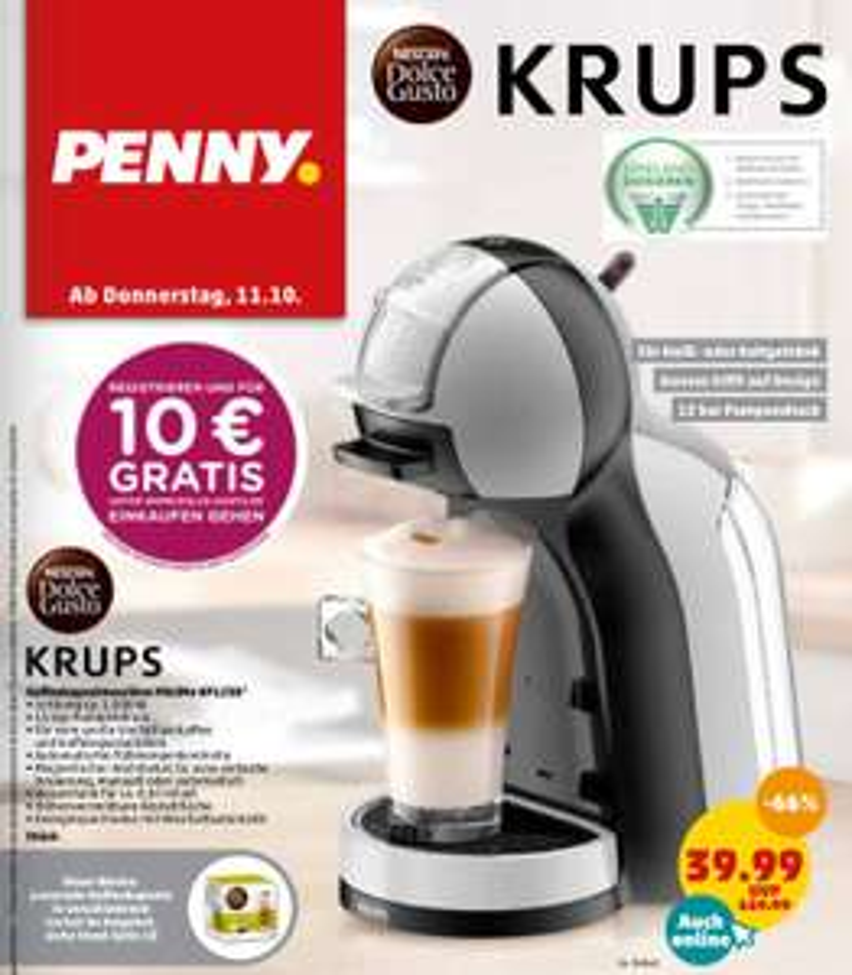 [Penny] Dolce Gusto Krups MiniMe KP123b für nur 39,99€