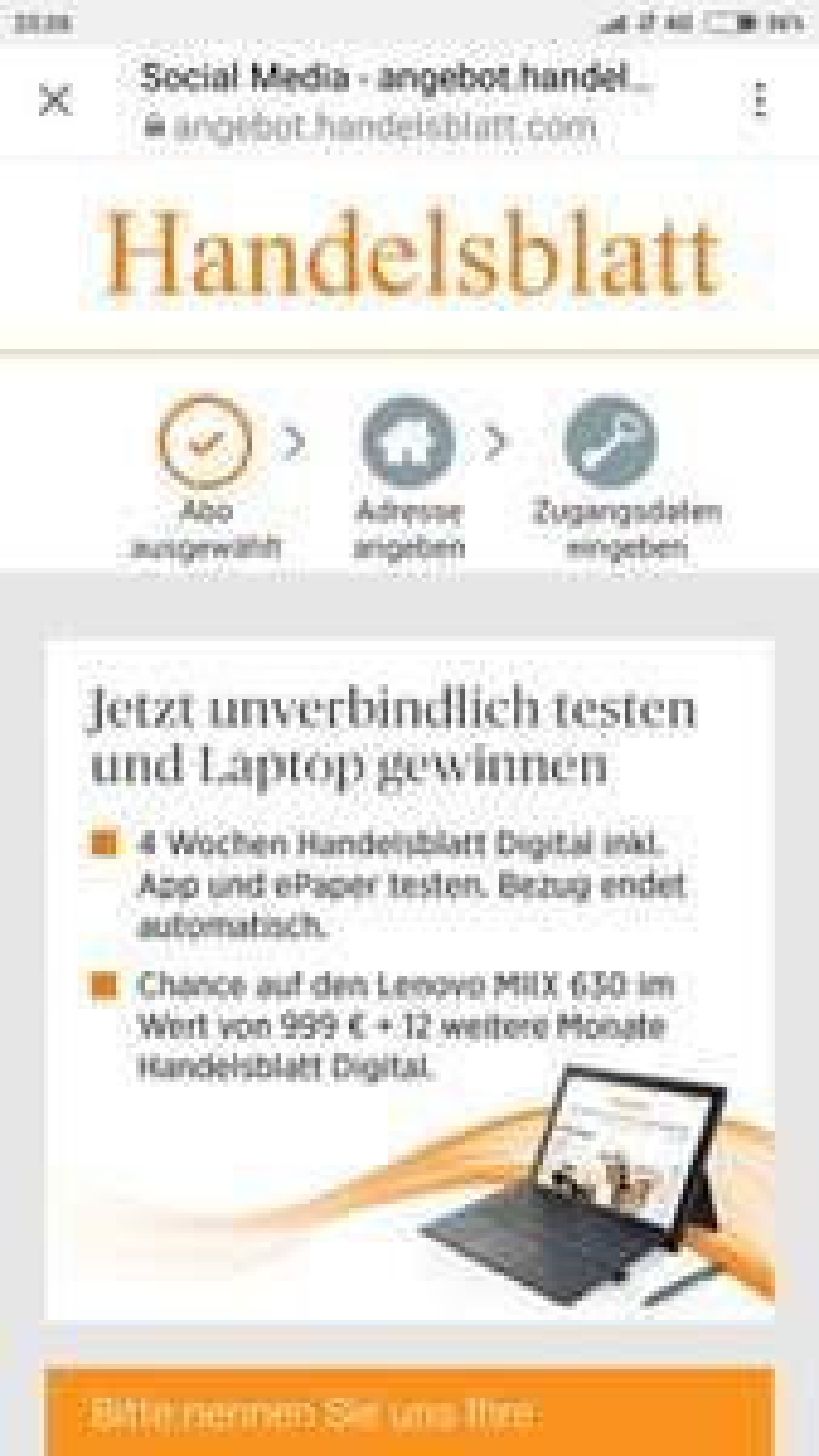 Handelsblatt App + ePaper 4 Wochen gratis | Bezug endet automatisch!