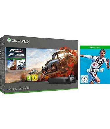 Xbox One X + Forza Horizon 4 + Forza 7 + FIFA 19 für 426,94€ (Schwab)