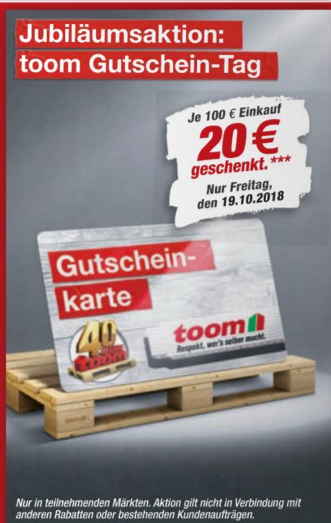 """Toom Baumärkte 20€ je 100€ geschenkt, somit """"effektiv"""" ~16,6% Rabatt"""