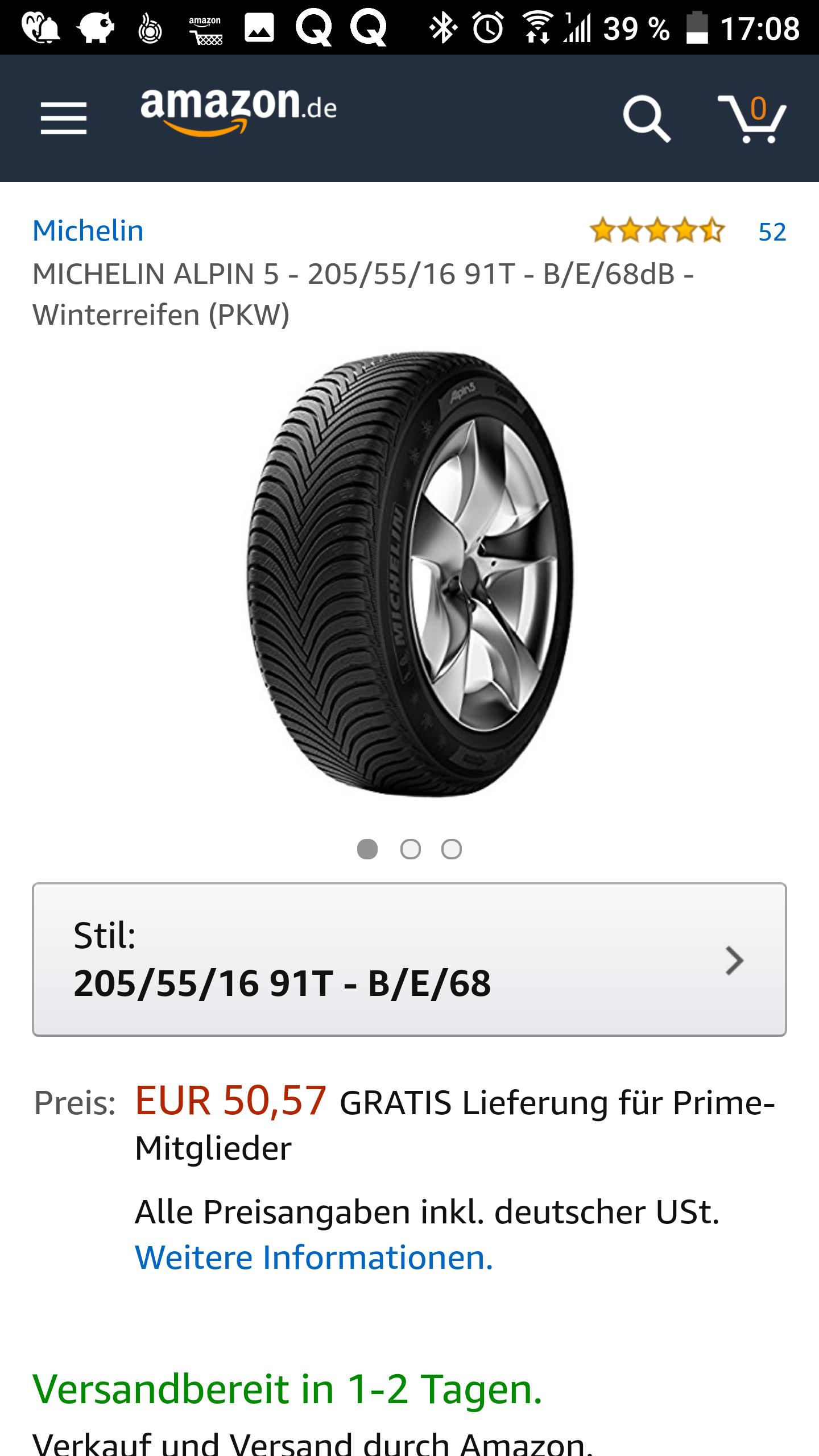 Amazon Winterreifen Michelin 205/55R16T und 185/65R15