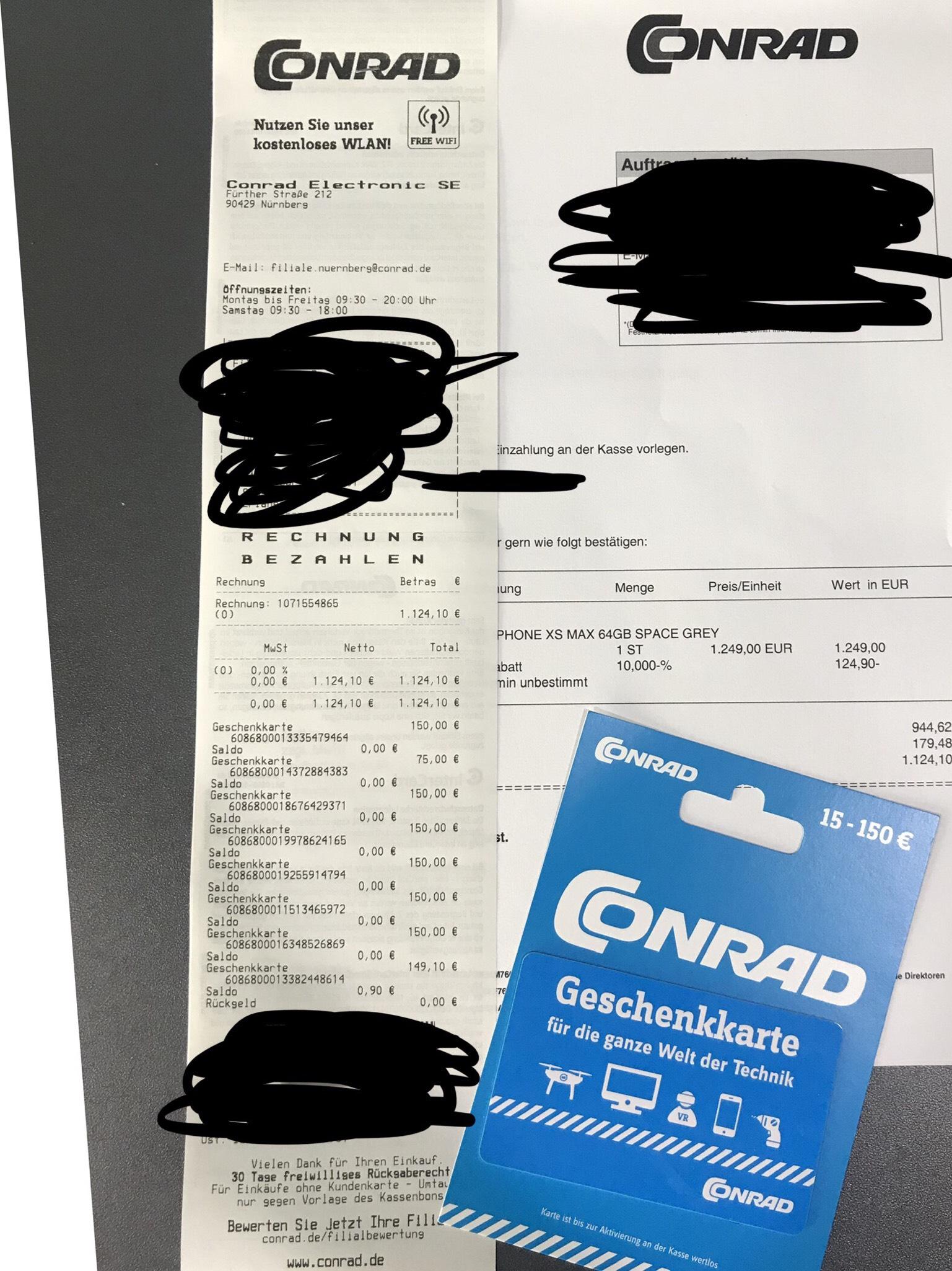 Conrad 19% Rabatt auf fast Alles - z.B. iPhone Xs für 935€, Xs Max für 1012,50€