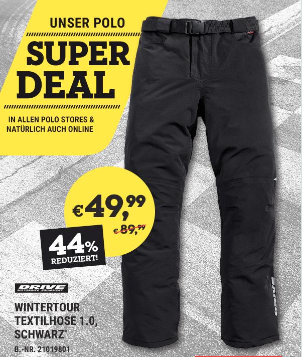 Wintertour Textilhose 49,99 Euro statt 89,99 Euro bei Polo Motorrad