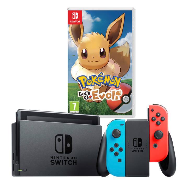 Nintendo Switch Konsole (Neon-Rot/Neon-Blau) + Pokémon: Let's Go, Evoli (Switch) für 268,88€ (Microspot Schweiz)