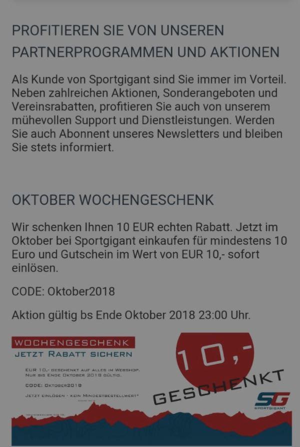 10€ Gutschein bei Sportgigant